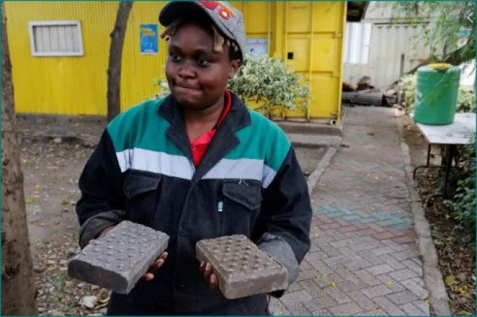 Kenyan Woman Turns Plastic into Bricks