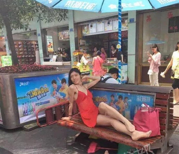 Simply walking on the streets of China showing ladyboy