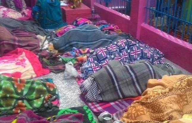 Pregnant women are sleeping on the floor