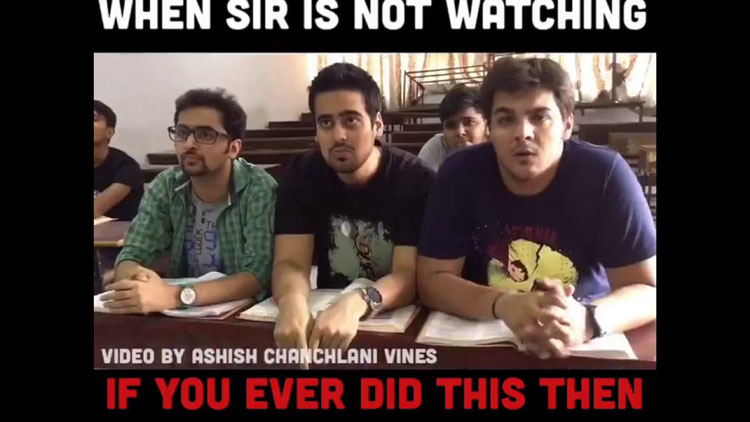 Eating in lecture when sir is not watching