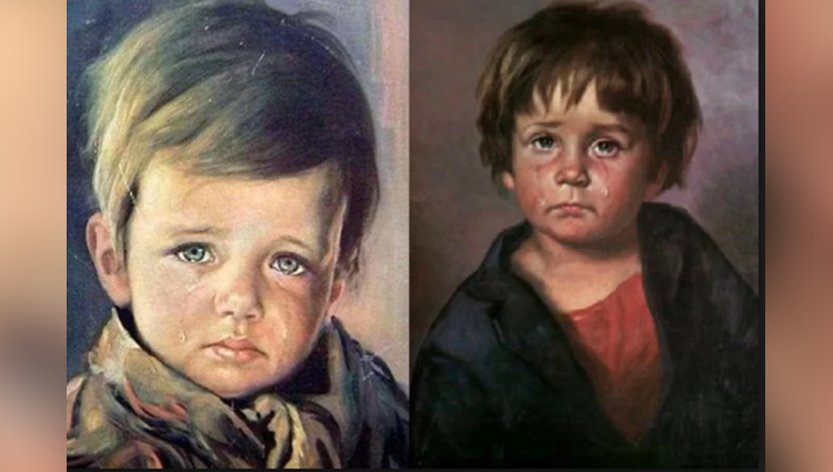 famous painter giovanni bragolin crying boy painting become the cursed for the people