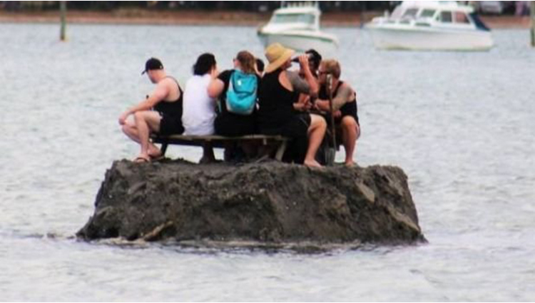To Avoid New Year's Drinking Ban Group Builds Tiny Private Island