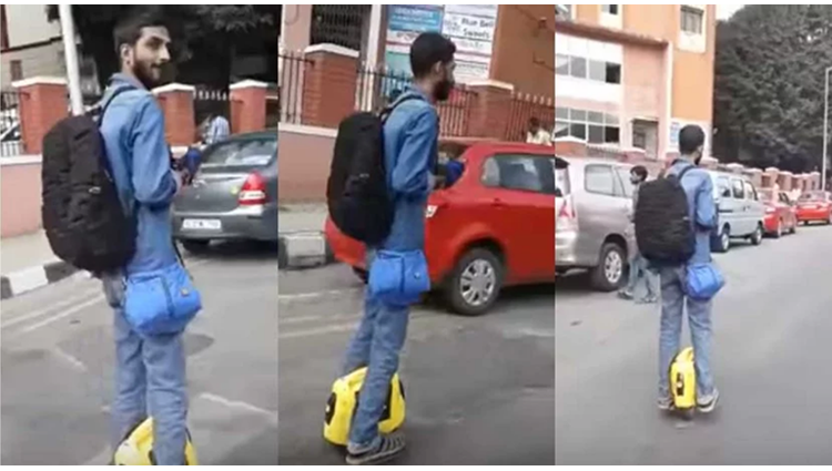 amazing hoverboard uses by a man in bangalore busy road