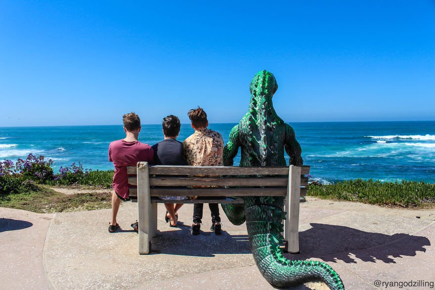 photographer photoshops a 6 inch godzilla figurine into his travel photos