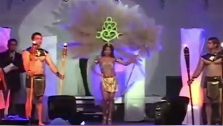 Terrifying moment when model's headgear catches fire on stage
