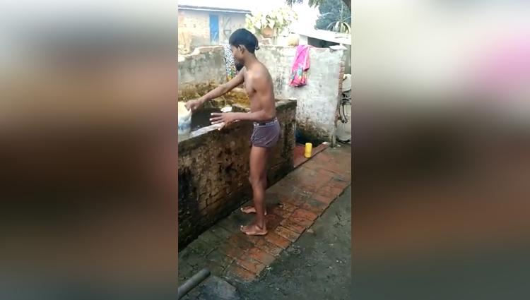 funny winter bath