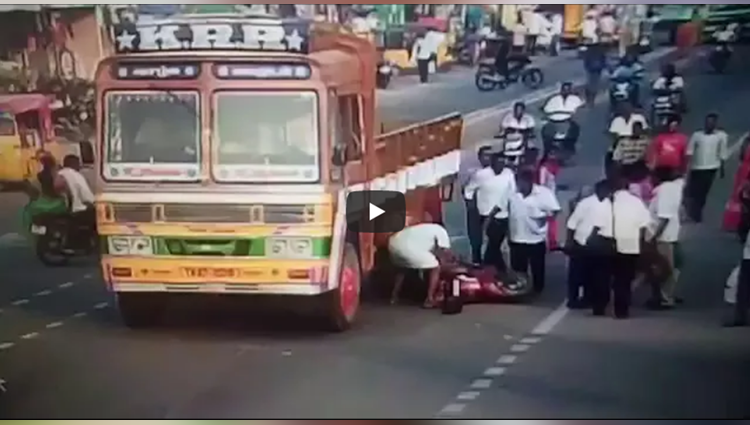 Two girls miraculously escape after falling under lorry tyres