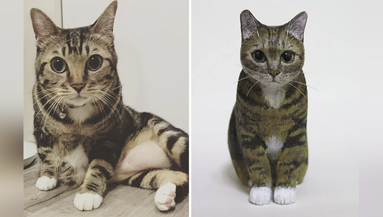 miniature cat sculptures by artist elise