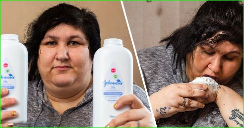 woman addicted to EATING talcum powder