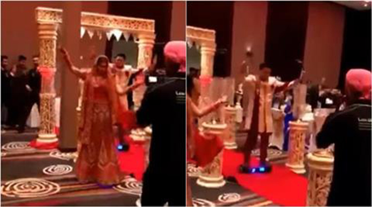Indian Bride and Groom enter wedding on Hoverboard