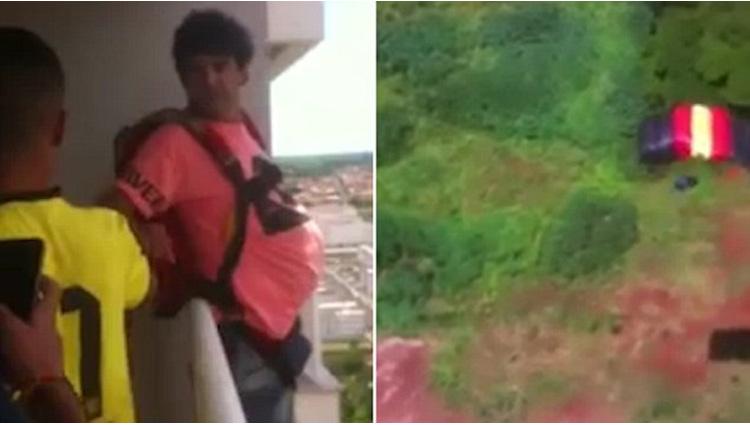 man wearing parachute jumps off balcony video viral
