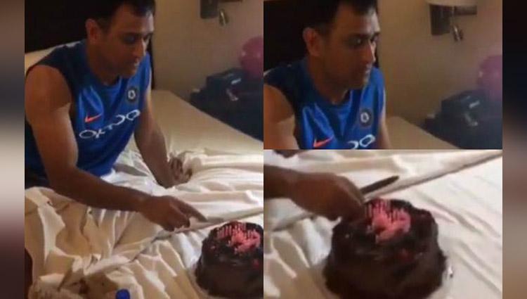 team india celebrating ms dhonis birthday dhoni cutting cake