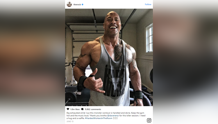 the rock shows his workout leg latest picture will shock you