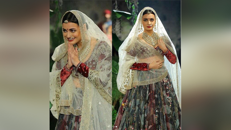 dia mirza looks like a royal bride in anju modi ensemble at icw