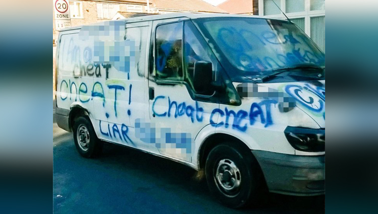 Angry jilted lover covers partners white van in foul mouthed graffiti branding him a cheat