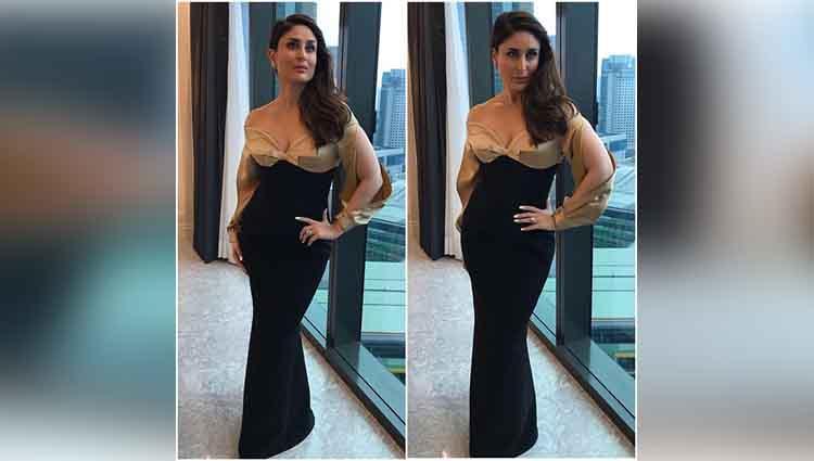 kareena kapoor khan in a black and gold dress
