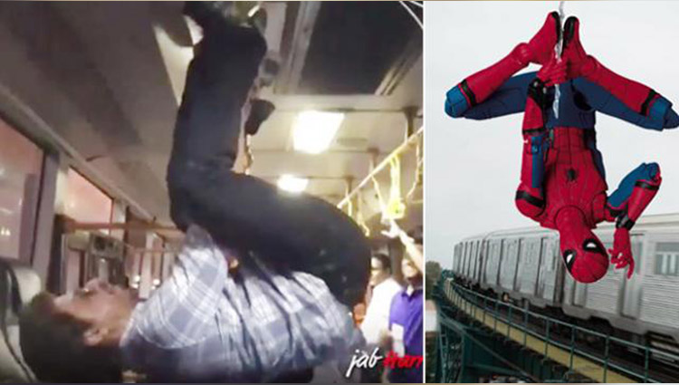 SRK turns Spider-Man hangs upside down in a bus