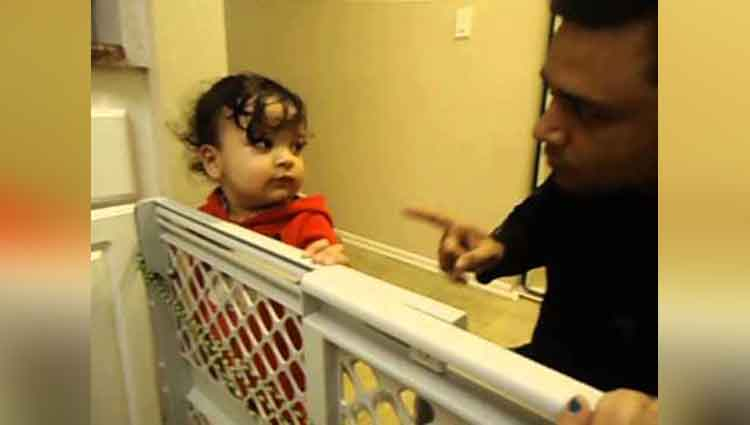 one and half year old Baby Arguing with dad