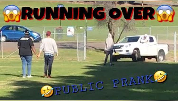 running over public prank