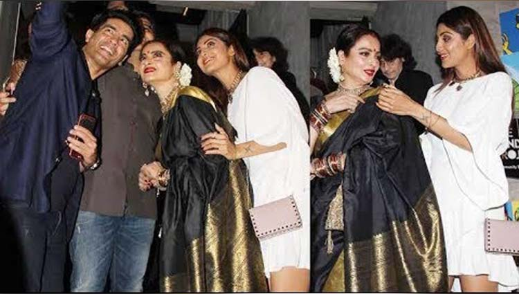 gorgeous rekha at filmfare editor jitesh pillais birthday