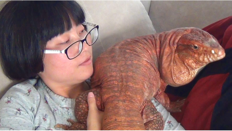 this woman and her giant pet lizard are best friends