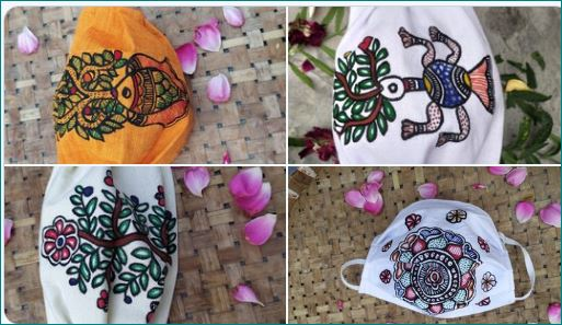 Covid 19 Face masks adorned with Madhubani painting