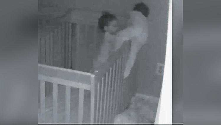 mom captures twins mischief at night