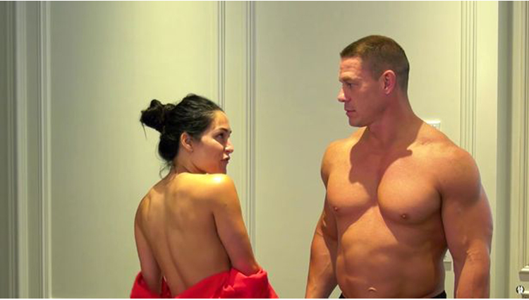 john cena and nikki bella removed their clothes in front of camera