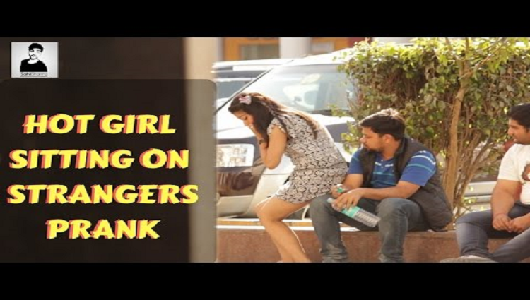 Hot Girl Sitting on Strangers Shocking Reactions Sahil Sharma