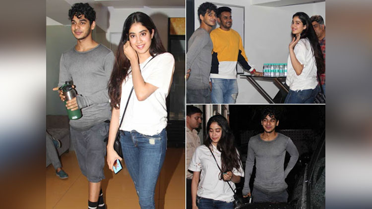 Jhanvi kapoor track on a movie date with ishan khattar