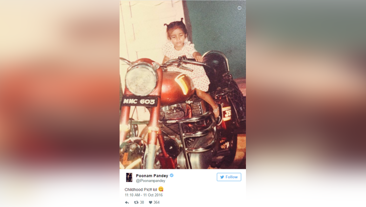 poonam pandeys childhood pic as a little girl in frock with two pony tails