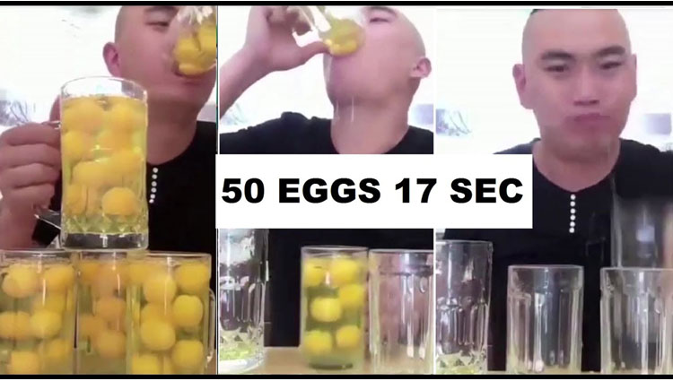 man gulps down 50 raw eggs in 17 seconds,all for internet fame