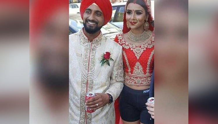 viral photo of groom and bride in shorts