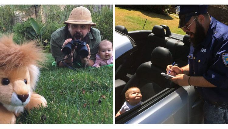 dad takes hilarious pics with his baby girl in costumes