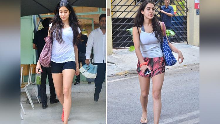 sara ali khan and jhanvi kapoor spotted at mumbai
