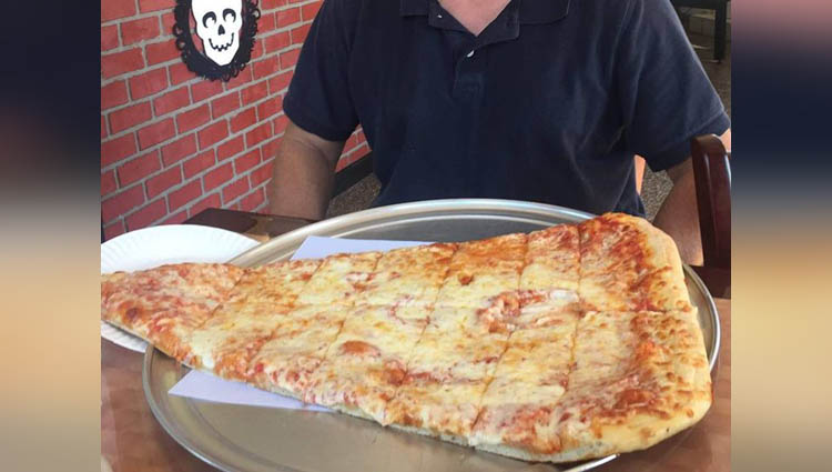 people eat 24 inch pizza slice and upload selfie on instagram