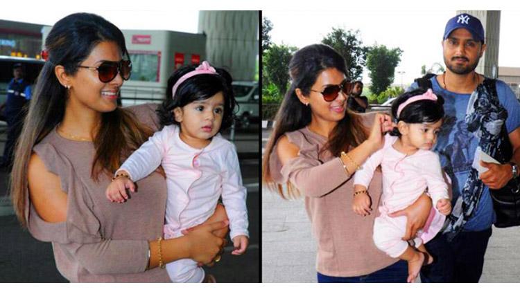 Photos:  Harbhajan Singh And Geeta Basra's Spotted With Daughter Hinaya At Airport