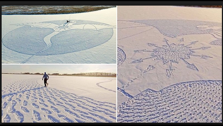 Artist Walks All Day In Siberia To Create Giant Snow Dragon