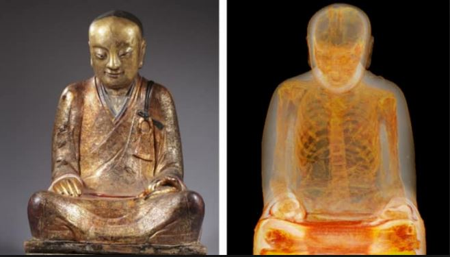 remains found inside a 1000 year old ancient statue in china