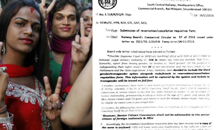 railway ticket reservation including the option for transgender
