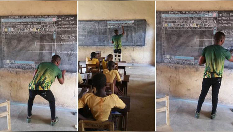 Ghana man goes viral for teaching computer technology on a black board