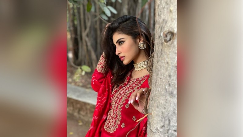 MOUNI ROY HOT PHOTOS IN RED DRESS