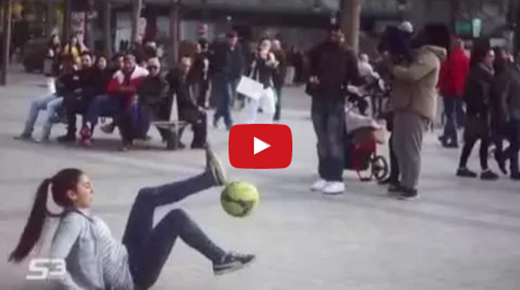 Amazing Street Football Skills By girl