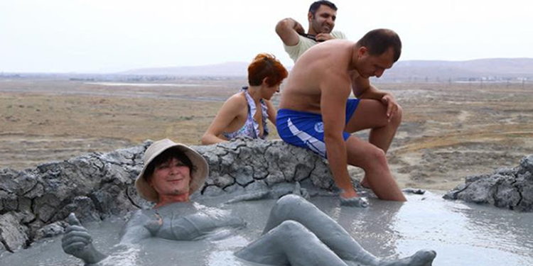 mud bath in gobustan national park volcanoes
