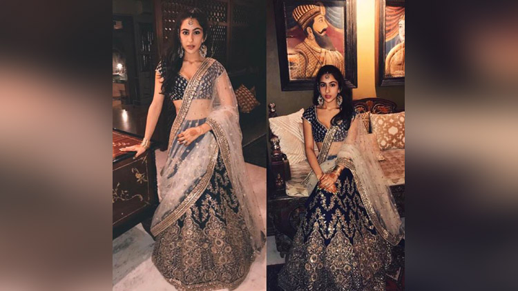 Saif Ali Khan's daughter Sara Look Gorgeous In Lehenga By Sabyasachi Mukherjee!