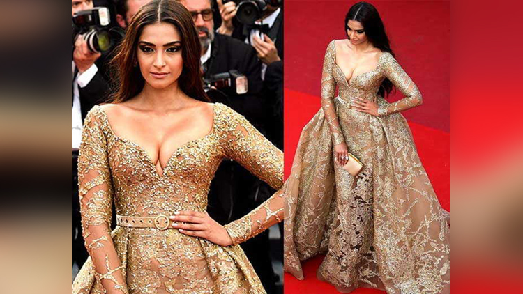 Cannes 2017 Sonam Kapoor dons a golden look for the red carpet See pics