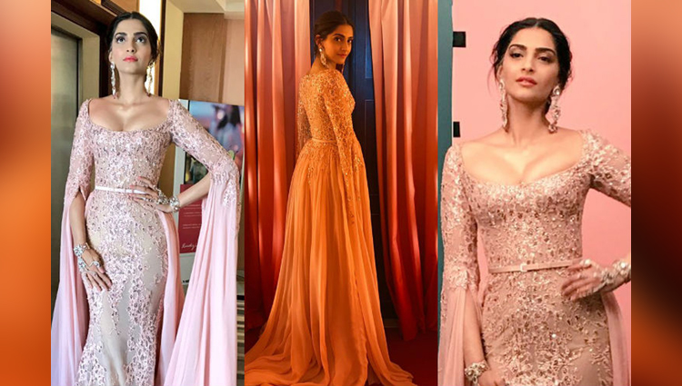 Sonam Kapoor At Cannes Red Carpet In Pink Gown