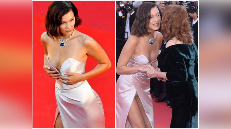 Bella Hadid suffers major wardrobe malfunction at Cannes Film Festival