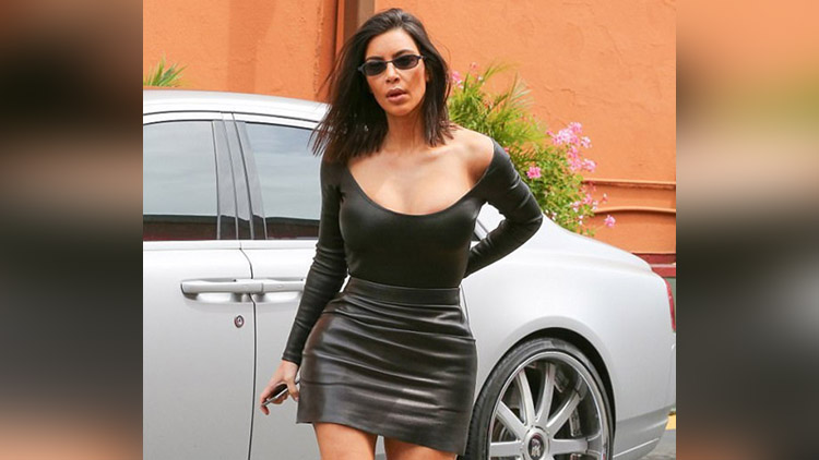 Kim Kardashian in mini dress for lunch date with friends in Los Angele