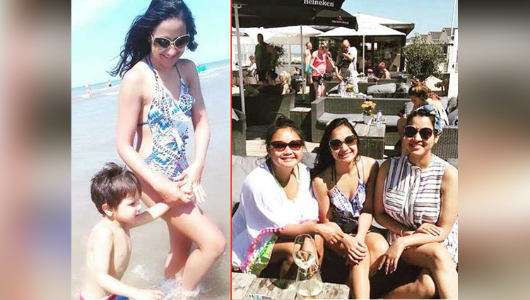 Suresh Raina Wife spotted on beach with daughter and Friends at netherlands